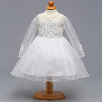 Ball Gown Long Sleeves White O-neck Flower Girl Dresses Glitz Pageant Dress Little Girl Party Gowns 2019 New Arrival romantic gorgeous little girl ball gown scoop appliqued glitz pageant 2018 flower girl dresses long for children prom party gown