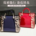 New trend European women brand bags ladies patent leather Embroidery retro shoulder bag crossbody messenger bags feminina