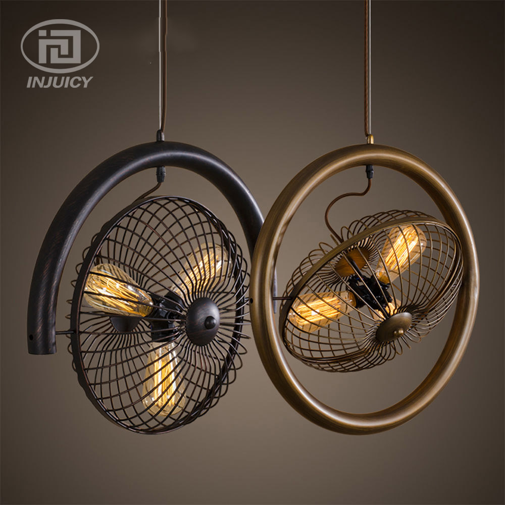 Loft Vintage Industrial Style Chandelier Fan Iron Edison Ceiling Lamp For Bar Cafe Bedroom Dining Room Restaurant Store