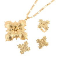 Bangrui Ethiopian Cross Jewelry Set Gold Color Necklace Earrings Ring Habesha Africa Wedding Gifts