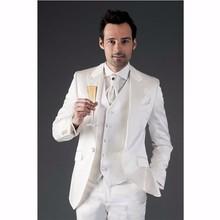 Classic Style One Button Ivory Groom Tuxedos Groomsmen Men's Wedding Prom Suits Bridegroom (Jacket+Pants+Vest+Tie) K:959