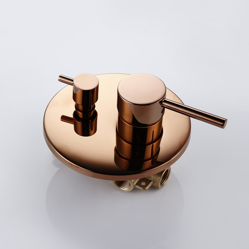 Image 3 - Rose Gold Finish Solid Brass Shower Diverter Valve Faucet Set With 8 12 Inch Round Shower Head Bathroom Wall Shower KitShower Faucets   -