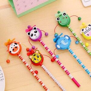 Image 4 - 30 pcs/lot école étudiants prix enfants dessin animé Animal Style HB en bois crayon hochet tambour jouet cadeau danniversaire