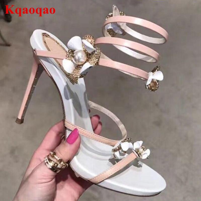 Peep Toe Women Sandals Flower Decor Narrow Band Shoes Sapato Feminino Funky High Heels Brand Designer Star Runway Party Shoes funky fashion designer