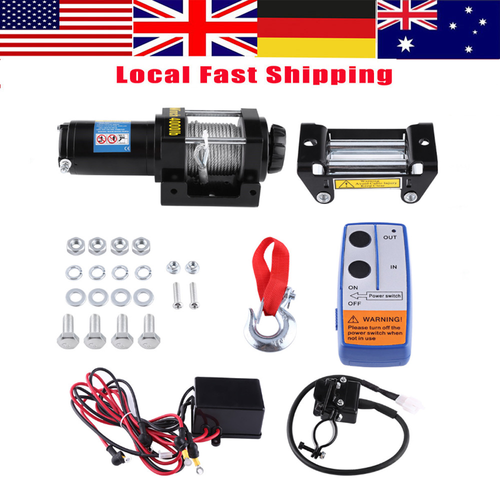 small resolution of walfront 4000lbs wire winch electric recovery winch cable pull motor winch kits set 12v atv winch