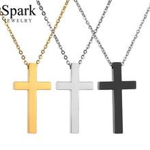 Spark – Collier avec pendentif en Croix de jésus religieux, amulette de prière chrétienne en acier inoxydable, 3 couleurs, cadeau de fête