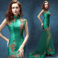 Green lace halter Chinese bride short in front long wedding dress cheongsam toast clothing 2019 new