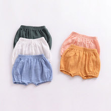 Summer Childrens Clothing Girls Shorts Toddler Solid Cotton Linen Baby Kids Clothes Bloomers Pants 1-4Y