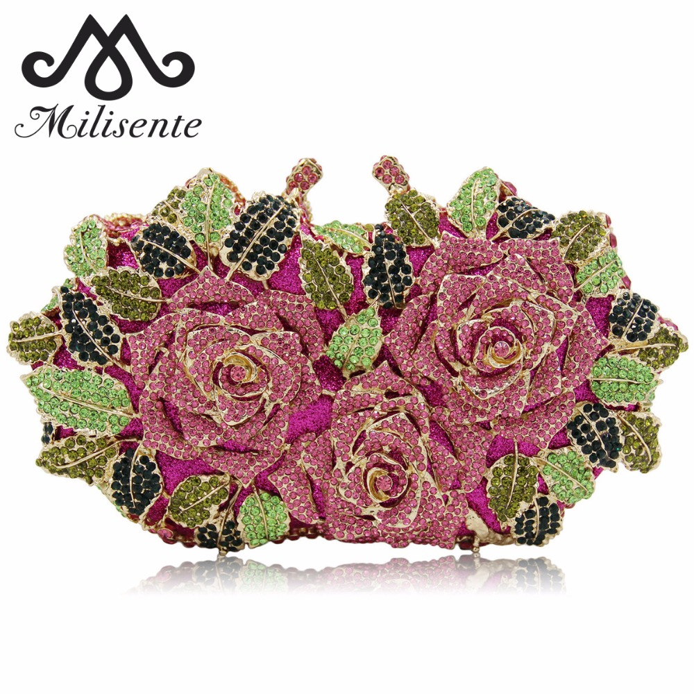 Milisente Luxury Crystal Clutch Women Flower Evening Bags Wedding Clutches Diamond Party Bag milisente high quality luxury crystal evening bag women wedding purses lady party clutch handbag green blue gold white