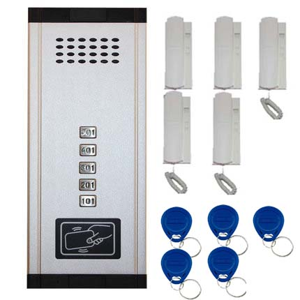 SMTVDP New Arrival Audio Door Phone Intercom System 5-apartments Audio Doorbell,New Design Indoor Unit ID Card Unlock Function