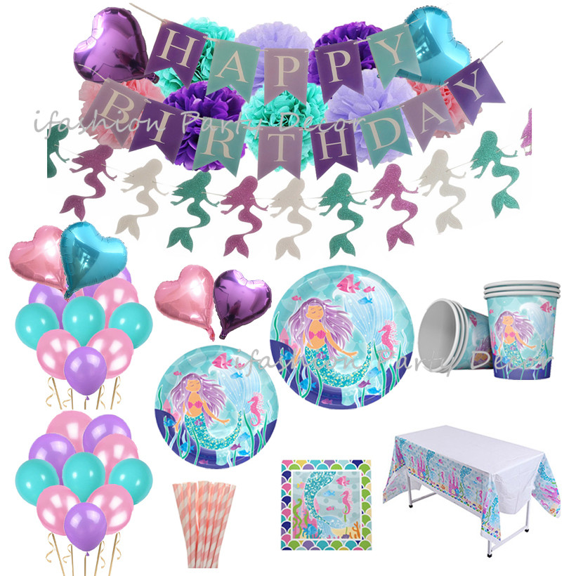 Mermaid Party Decorations Set Paper Plates Cups Napkins Straws Tablecloth Paper PomPoms First Birthday Girl Party Banner Garland