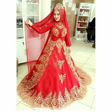 Middle East 2017 Red Wedding Dress Long Sleeve Bridal Dress Appliques Wedding Gowns with HiJab vestido de noiva Free Shipping