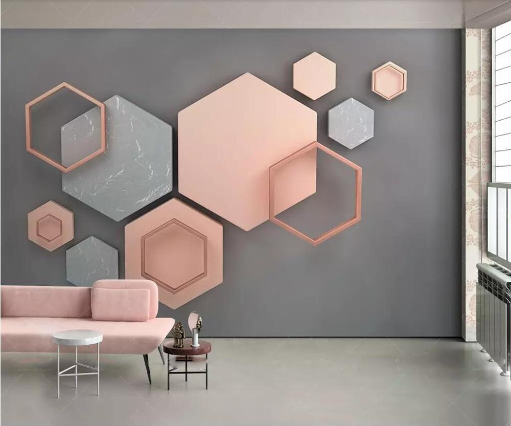 Custom Wallpaper Mural 3d Three-dimensional Hexagon Mosaic Modern Minimalist Geometric Living Room Background Wall