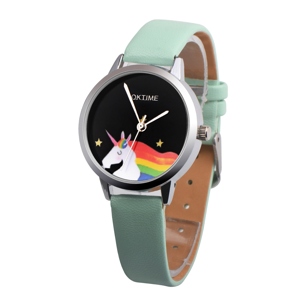 OKTIME New Unisex Girls boys leather round dial watch
