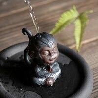 retro ceramic monkey Zen figurines Qitian small monkey pottery tea pet animal accessories home decor handicraft room decorations