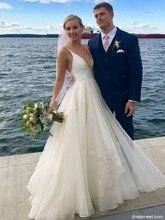 Gorgeous A-Line V Neck Backless France Organza Ivory Long Wedding Dresses Back Bridal Gowns vestidos de noiva