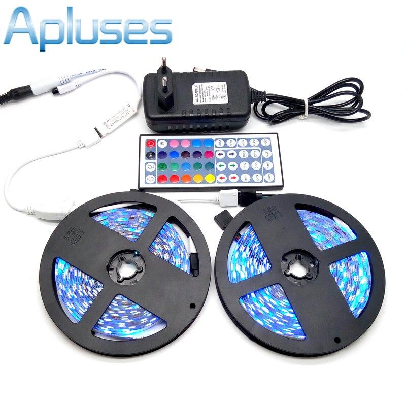 10M LED csíkkészlet SMD 5050 RGB 600LED hajlékony szalag lakberendezési világítás 44Key IR vezérlő 12V 3A tápegység adapter