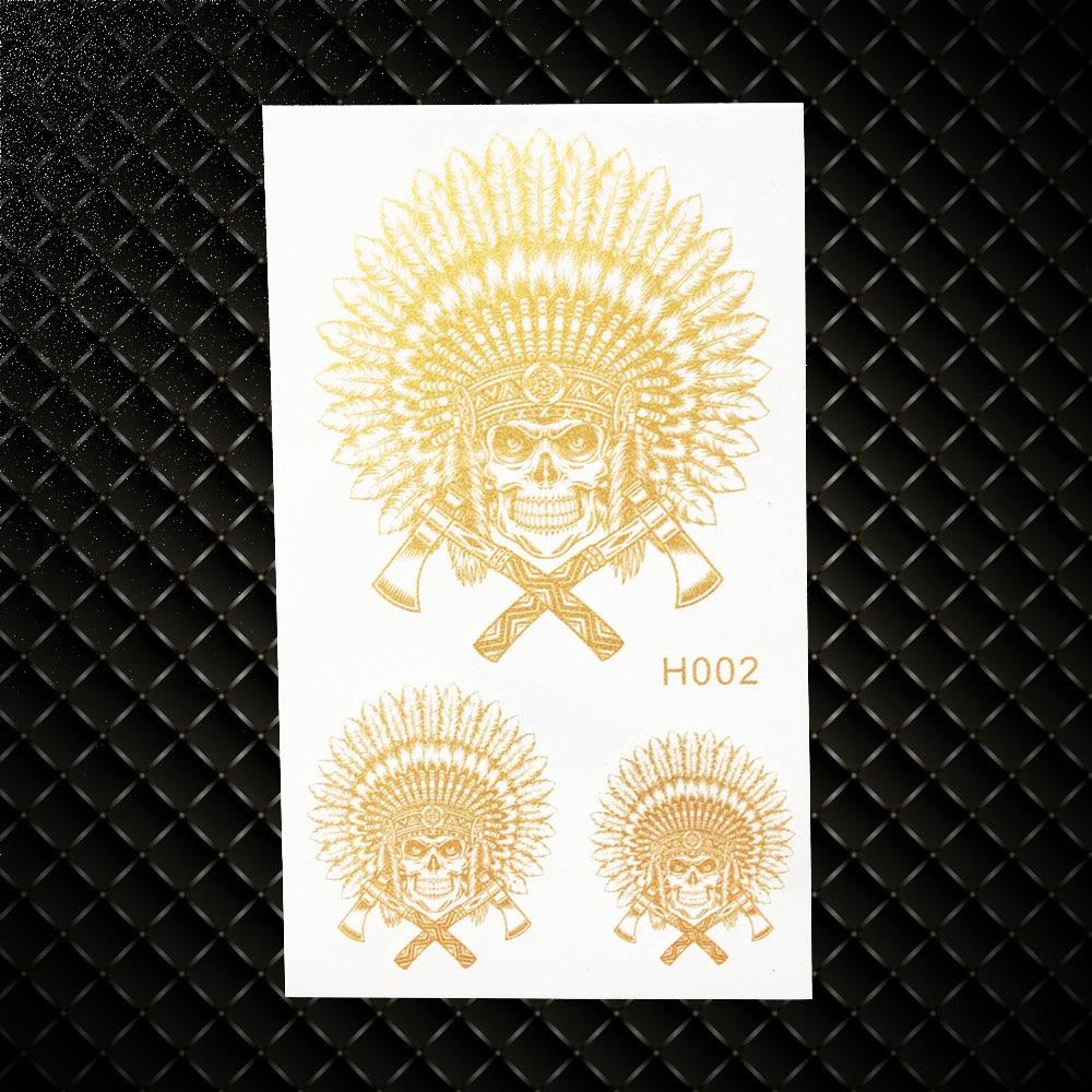 Death Skull Skeleton Warrior Gold Temporary Tattoo Knight Fake Flash Tattoo Stickers GGH002 Indian ancient times Tattoo Cavalier