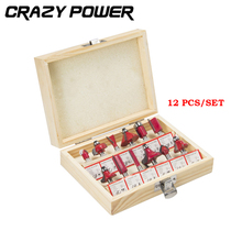 CRAZY POWER Wood router bit set 1/4″(6.35mm)  Forming Milling Wood Woodworking Cutter Trimming Knife In Wooden Box With Box