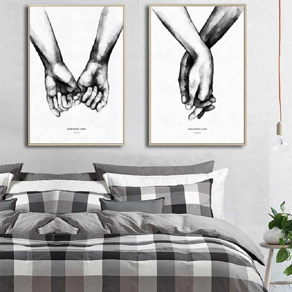 Hitam Dan Putih Tangan Memegang Surat Cinta Pasangan Abstrak