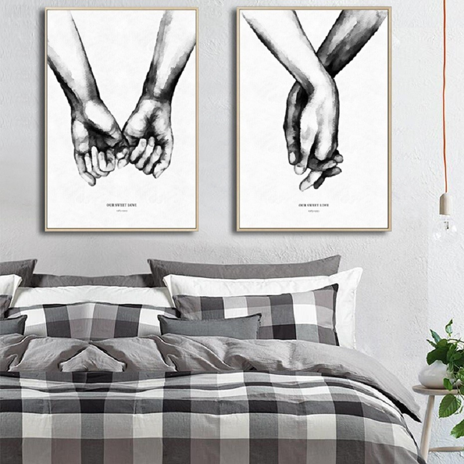 Black And White Holding Hands Love Letters Couple Abstract Canvas Paintings Poster Print Wall Art Picture For Bedroom Home Decor