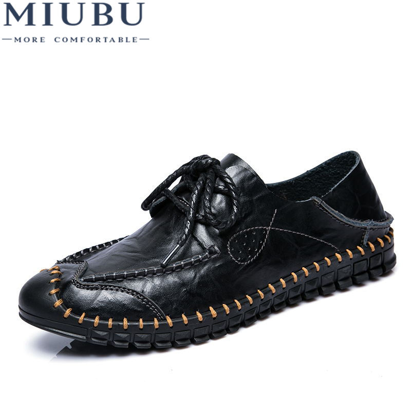 MIUBU Brand Leather Men Casual Shoes Black Brown Men Flats Fashion Loafers Leather flat oxford shoes Zapatos Hombres in Men 39 s Casual Shoes from Shoes