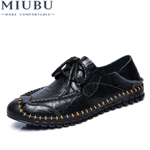 MIUBU Brand Leather Men Casual Shoes Black Brown Flats Fashion Loafers flat oxford shoes Zapatos Hombres