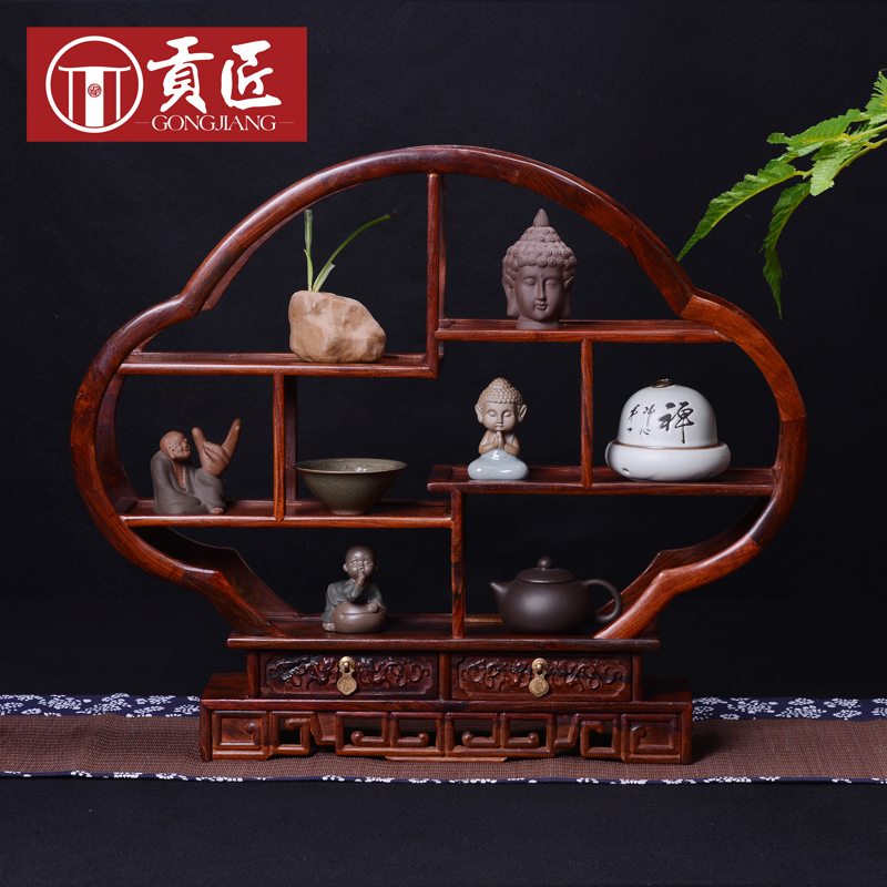 Palo de rosa pequeña circular muebles de caoba estante antiguo chino ...