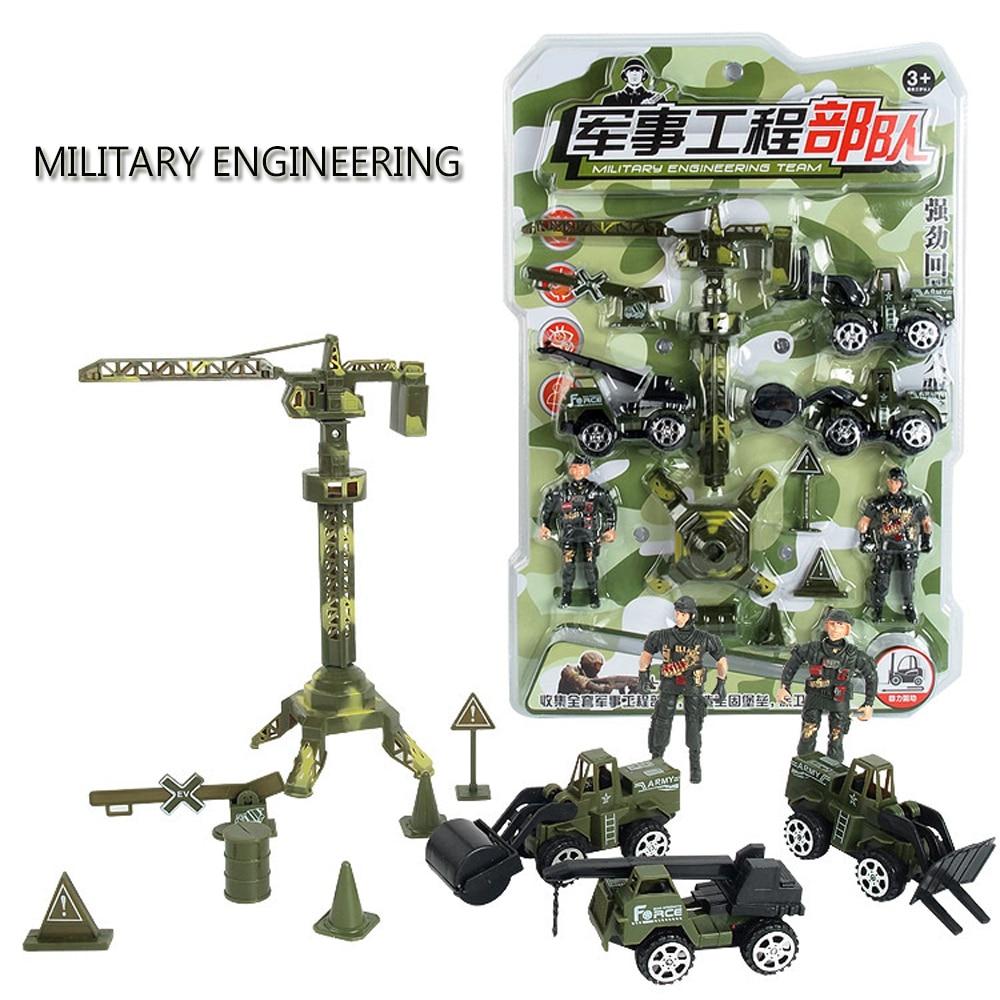 13 Stks/set Camouflage Mini Techniek Militaire Hobby Truck Model Pullback Bouw Voertuig Toren Speelgoed Mini Jongen Speelgoed Set