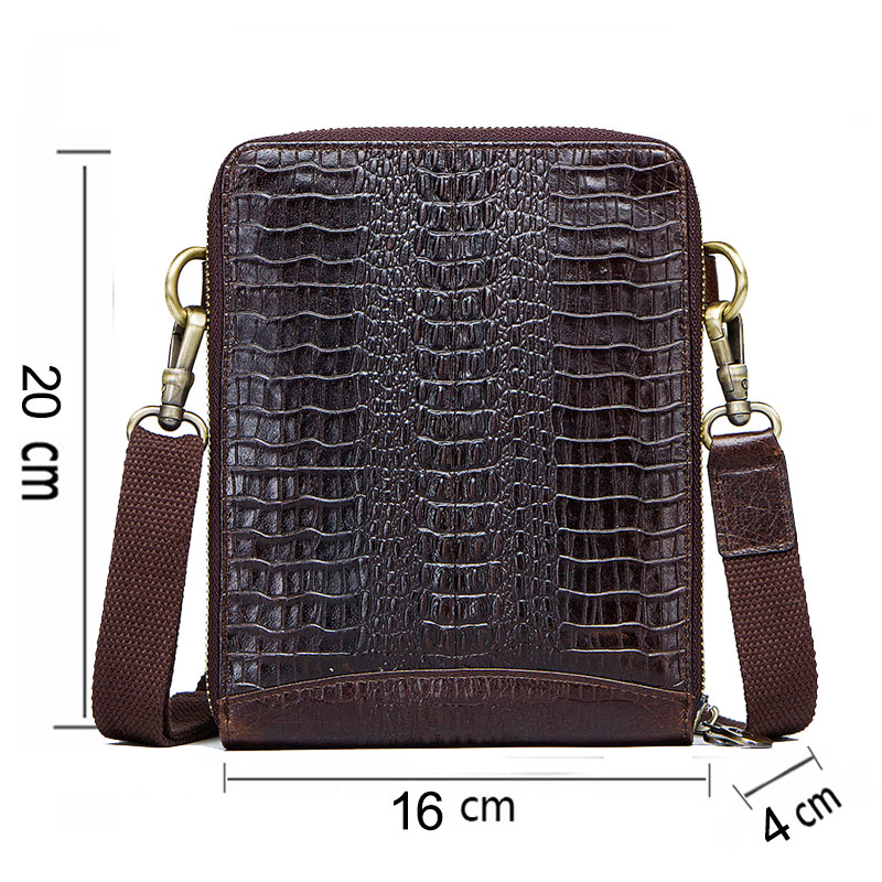 Men's Genuine Leather messenger bag Vintage Shoulder Bags Crocodile Crossbody Bags for men with Mobile Phone Pouch Waist Bag 1