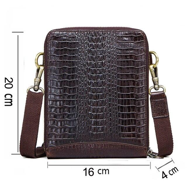 Men's Genuine Leather messenger bag Vintage Shoulder Bags Crocodile Crossbody Bags for men with Mobile Phone Pouch Waist Bag 1
