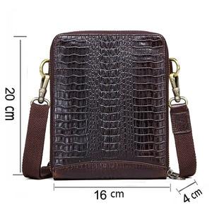 Image 2 - Mens Genuine Leather messenger bag Vintage Shoulder Bags Crocodile Crossbody Bags for men with Mobile Phone Pouch Waist Bag