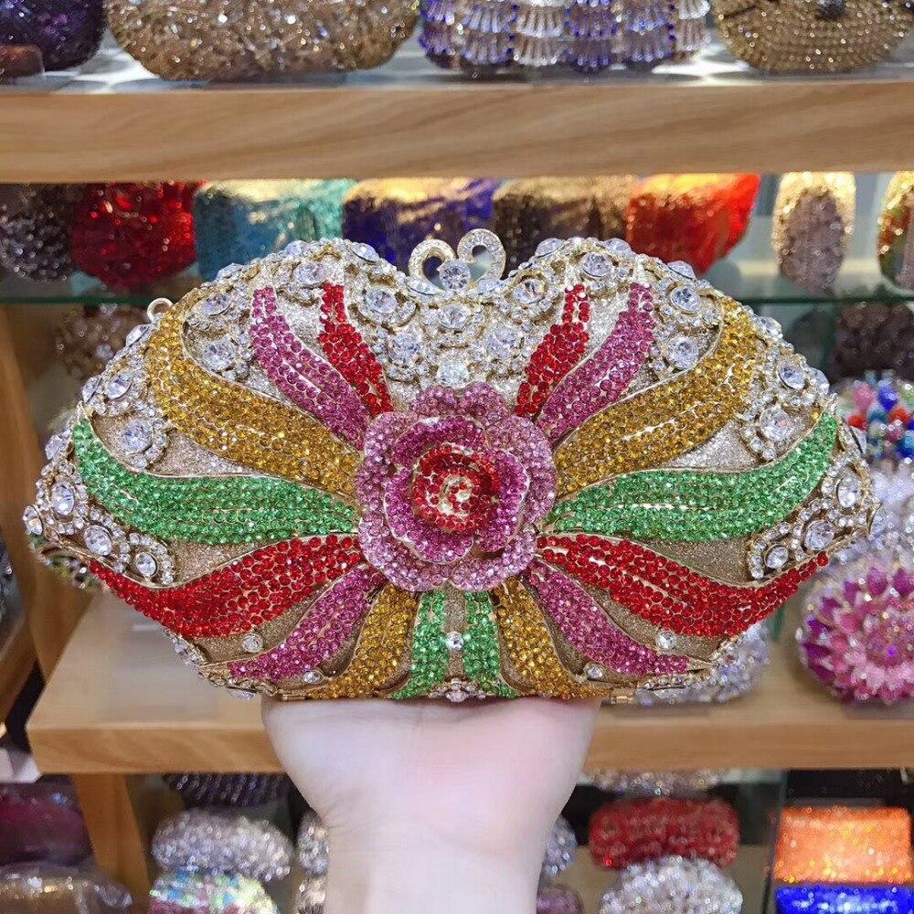 XIYUAN dame Gold/silber/lila Kristall diamant Abend taschen Kupplung Harte Fall Metall Hochzeit Cocktail Handtasche Braut Diamant geldbörse-in Kupplungen aus Gepäck & Taschen bei  Gruppe 2