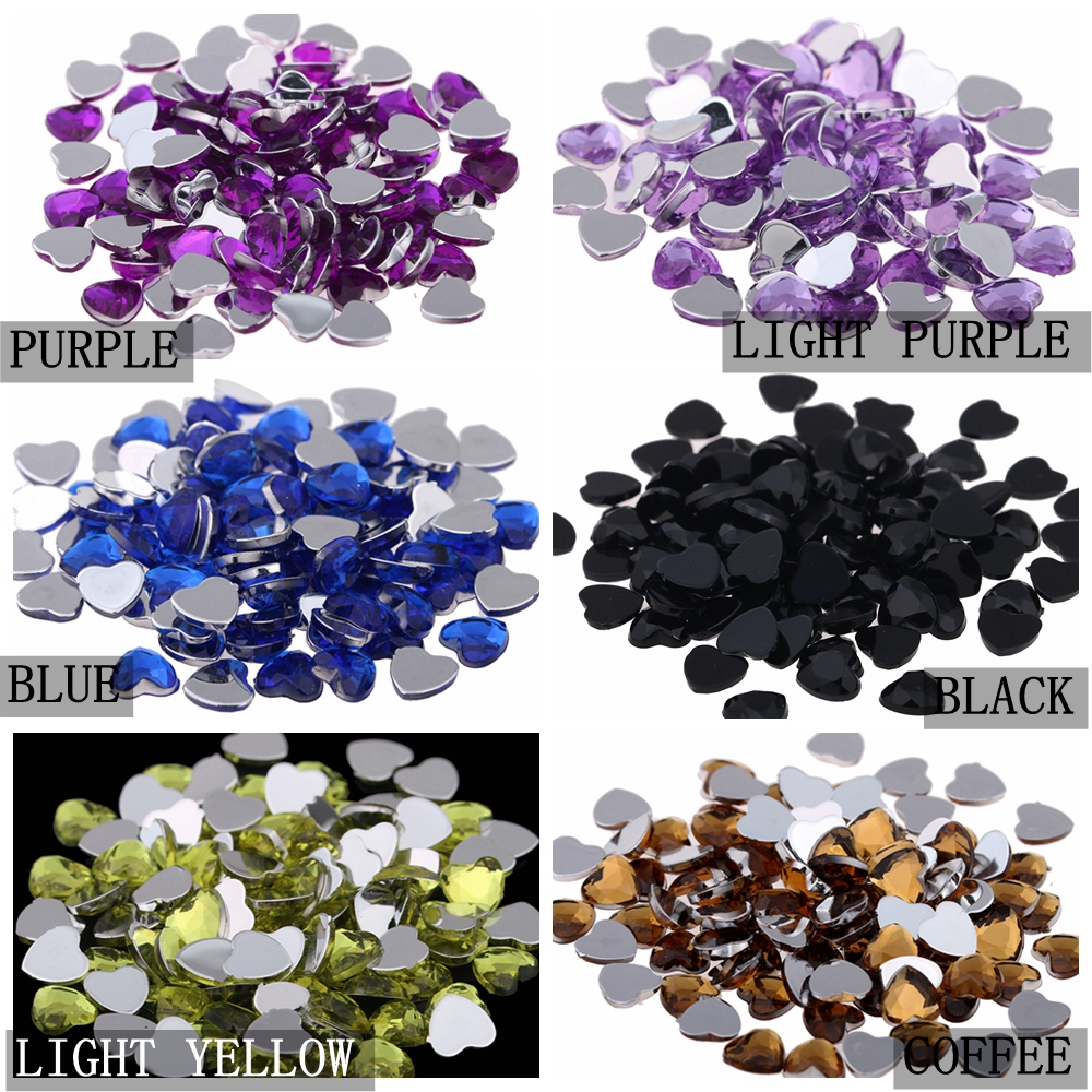 Craft Art DIY Gems 8mm 50pcs Heart Shape Gems Shiny Flat Facets Normal  colors Acrylic Rhinestone Strass Nail Stickers-in Rhinestones   Decorations  from ... 19b77d70a267