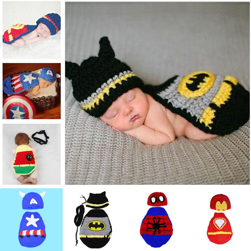 New Batman Photography Props Superman Spiderman Newborn Baby Costume
