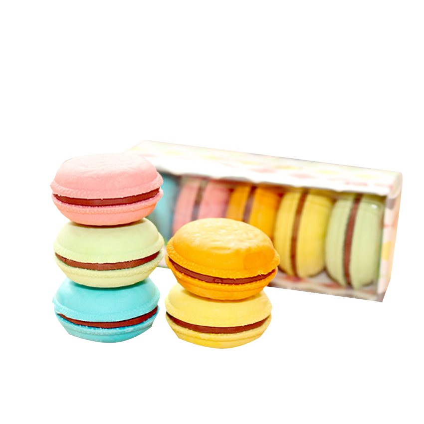 5pcs/lot Kawaii Eraser Cartoon Candy Color Macaron Shape Eraser Cute Stationery School Student Supplies Special Children Gifts