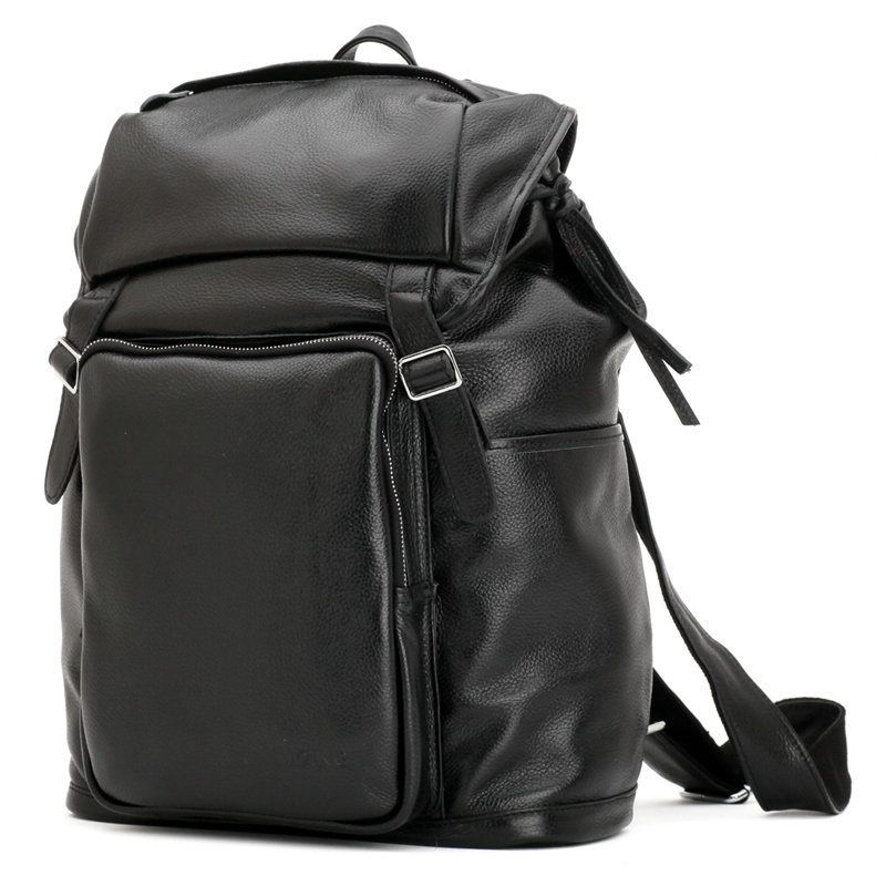 TIDING Cowhide Backpacks For Men Casual Travel Rucksack Small Backpack 16 Computer Bag Leather 3067 tiding cool cowhide leather laptop backpack day pack activity travel weekender overnight bag 30813