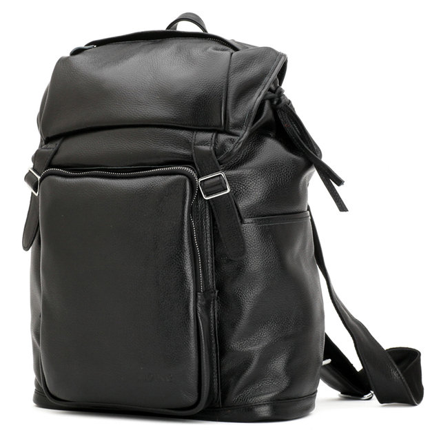 TIDING Cowhide Backpacks For Men Casual Travel Rucksack Small Backpack 16