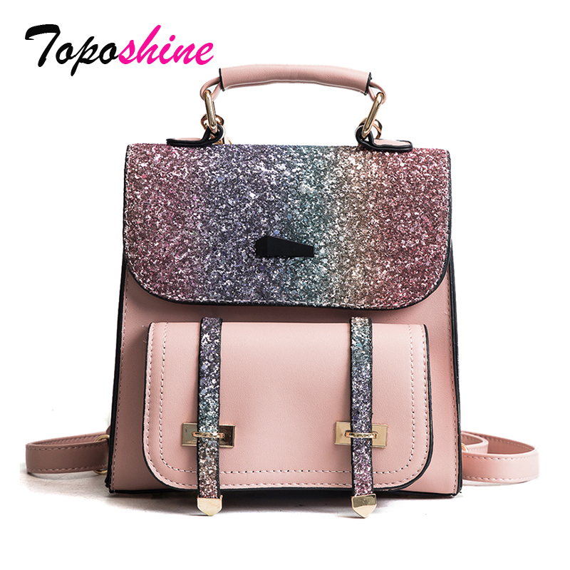 New Korean Version of the Joker Hit Backpack Fashion Simple and Easy Multi-Purpose Bag Female Sequined Travel Bag Tide mshg alligator skin new female bag korean version of the trend of hand painted handbags european and american fashion middle age
