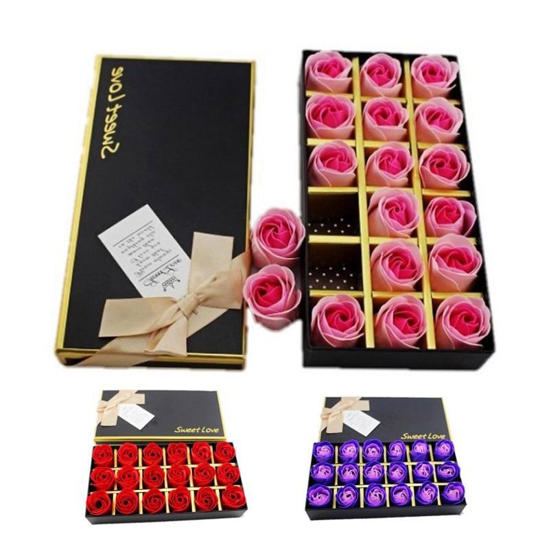 1Set 18 Rose Soap Flower Petals Valentine Wedding Mothers Day Rose birthday Gift Box Deco