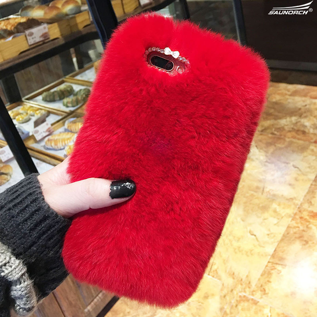 Rabbit Fur Diamond Luxury Top Cover Bags For Samsung Galaxy S3 4 5 mini S6 S7 edge S8 Plus Note 8 3 4 5 J3 J5 J7 A3 A5 A7 2017