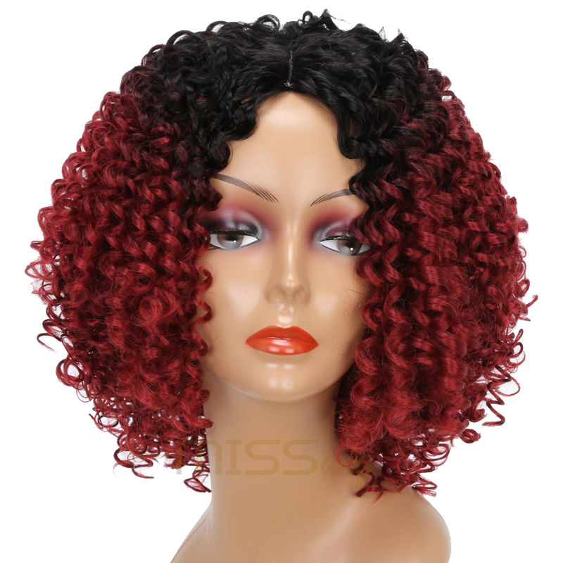 MISS WIG Long Black Ombre Red Wigs Kinky Curly Wigs for Black Women Synthetic Hair High Temperature Fiber Afro Women