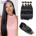 Peruvian Straight Virgin Hair With Closure Peruvian Straight 4 Bundles With Closure Iwish Human Hair Bundles With Closures 5pcs