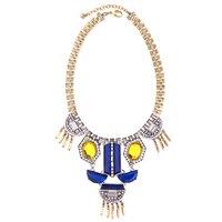 Blau Gelb Harz Kristall Geometrische Opulente Halskette 2017 Personalisierte Frauen Partei Schmuck Zubehör