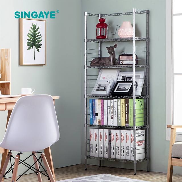 SINGAYE Five Layer Bookcase Organizer Carbon Steel Simple Assembly Multi Function  Bookshelf Indoor Floor Shelf