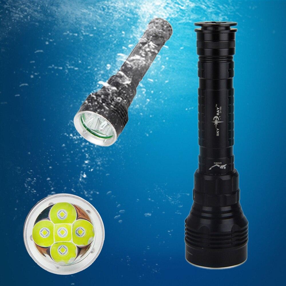 ФОТО Underwater 100m Led Diving Flashlight CREE XM-L2 50W 8000LM Waterproof 5 LED Dive Torch Light Lamp