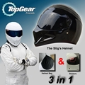 3in1 Package For TopGear The STIG Helmet Capacete Casco De / Bag+ SIMPSON Sticker / Bright Black Moto Helmet with Black Visor
