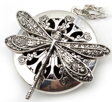 1pc Antique Silver Dragonfly Aromatherapy Diffuser Locket Pendant Necklace With 28″ Chains