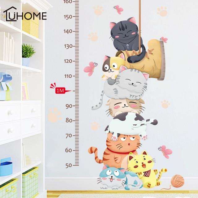 Мультфильм кошка животные измерения настенные наклейки для детской комнаты детский сад высота диаграмма Линейка Наклейки Детская домашни...