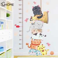 Cartoon Cat Animals Measure Wall Stickers for Kids Rooms Kindergarten Height Chart Ruler Decals Nursery Home Decor